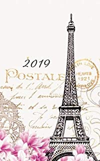 2019 Weekly & Monthly Vintage Paper Paris: 12 Month Planner Diary with Vertical Day Appointment Agenda and Small Calendar Organizer