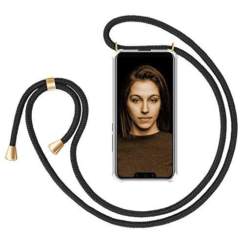 ZhinkArts Handykette kompatibel mit Huawei Mate 20 Pro - Smartphone Necklace Hülle mit Band - Schnur mit Case zum umhängen in Schwarz - Gold