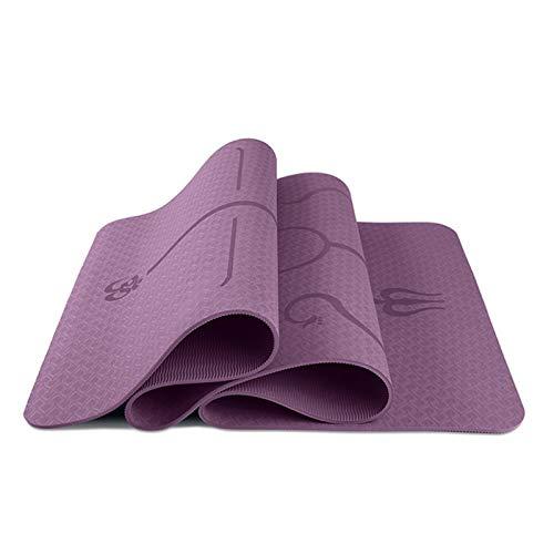 MICOLOD Yoga Mat Protección Ambiental insípido Antideslizantes de los Deportes de Fitness Yoga Mat for Principiantes Aptitud colchoneta de Gimnasia Esterilla de Yoga Impermeable (Color : Purple)