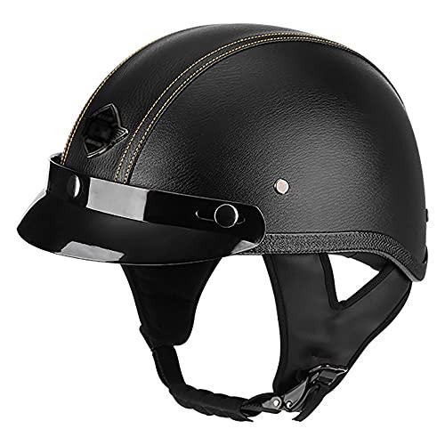 Medio casco de motocicleta de moda Casco de motocicleta de cara abierta La certificación ECE unisex para adultos es adecuada para monopatín de motocicleta cruiser E,L