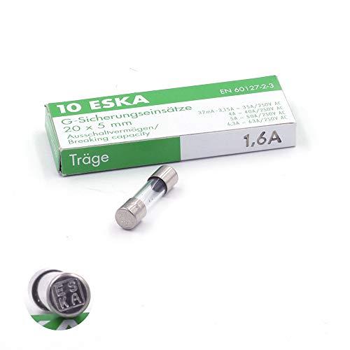 10x Schmelzsicherung, träge (T), aus Glas, 1,6A/250VAC, 5x20mm.