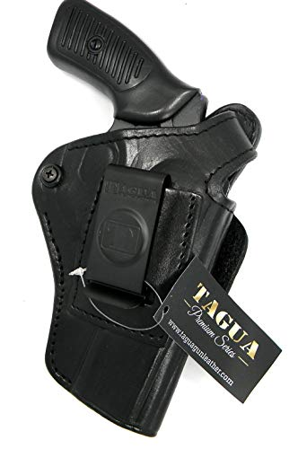 HOLSTERMART USA TAGUA Premium Deluxe Right Hand Black Leather IWB OWB 4 in 1 Thumb Break Holster for Ruger SP101 Revolver, 3' Barrel