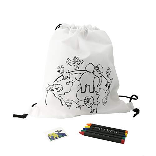 FUN FAN LINE – Set de Mochilas Infantiles Originales para Colorear + Tatuajes temporales. Packs, Fiestas y Juguetes de cumpleaños Infantiles (Animalitos, 20 Unidades)
