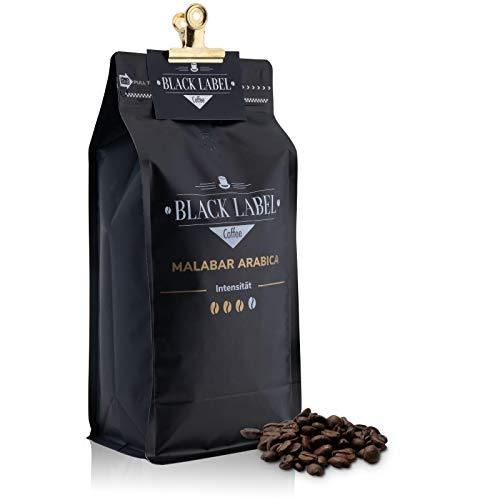 Black Label Coffee Kaffeebohnen 1kg | sehr säurearm Malabar Arabica 100{f907f5cdc4d839f2848bc3baa687759c5ebf0f624c257a2bc72bfde8cc44f941} | Kaffee-Bohnen für Vollautomat mild Espresso ganze Bohne | Cafe Crema frisch geröstet