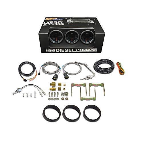 GlowShift Tinted 7 Color Diesel Truck 3 Gauge Kit Set - 60 PSI Boost - 2400 F Pyrometer Exhaust Gas Temp EGT - Transmission Temperature - Black Dial - Smoked Lens - 2-1/16' 52mm