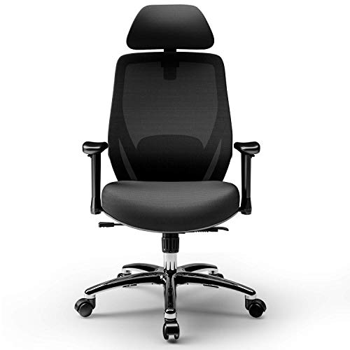 Ergonomic Office Chair Adjustable Office Chair High Back Executive Mesh Desk Chair with Adjustable Armrest Headrest, Lumbar Support 130° Reclining & Rocking Mesh Computer Chair (Black)