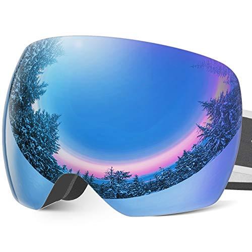 Frameless OTG Ski Snow Goggles for Men Women, Snowboard Goggles with Anti-Fog Spherical Lens