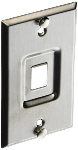 Leviton 4108W-1SP QuickPort Telephone Wall Jack, Stainless Steel, Recessed Port