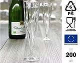 Aluplast 200 Flûtes à Champagne Jetables Monobloc 13cl | Plastique polypropylène | Transparent