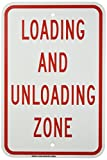 Brady 129588 Traffic Control Sign, Legend'Loading and Unloading Zone', 18' Height, 12' Weight, Red on White