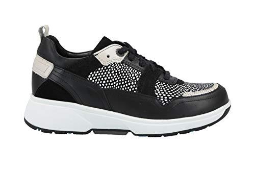 XSENSIBLE Sofia Black/White - Zapatos deportivos con cordones para mujer, cómodos, de piel, color negro, color Negro, talla 39 EU