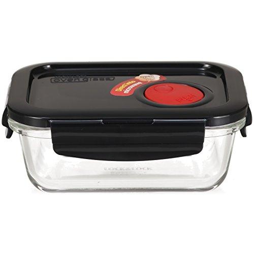 LOCK & LOCK Frischhaltedose aus Glas mikrowellengeeignet - OVEN GLASS - Für Backofen, Mikrowelle & zum Einfrieren - Mikrowellengeschirr, 380 ml