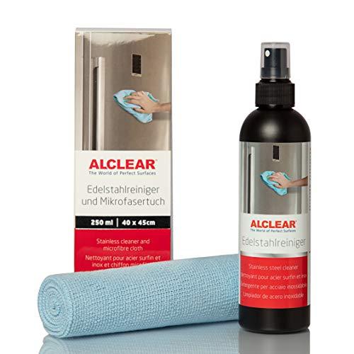 ALCLEAR 721ER Profi Edelstahlreiniger 250 ml und Profi Mikrofasertuch, reinigt Edelstahl streifenfrei, gegen Schmutz, Fingerabdrücke und Fett