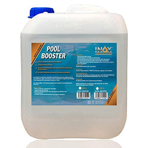 INOX® Pool Booster - 10L - Effektiver Algenvernichter Pool - Flüssiges Algizid für Pool - desinfizierendes Reinigungsmittel gegen Algen - Hochwirksame Pool Chemie