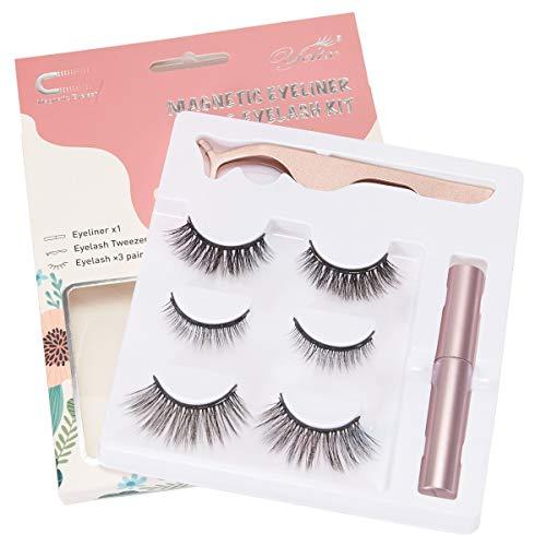 3 Pairs Magnetic Eyelash and Eyeliner Kit with Reusable Full Strip Eyelash No Glue Needed