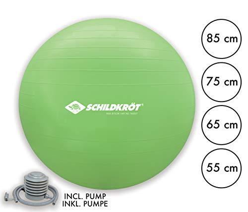Schildkröt Fitness Gymnastikball, 75 cm, mit Ballpumpe, phthalatfrei, schwere Anti Burst Qualität bis 120kg, Grün, 960057
