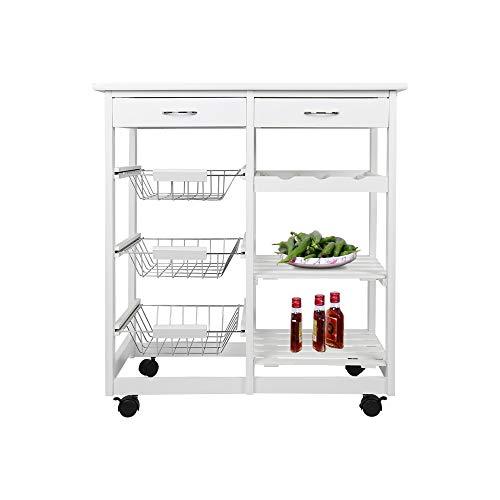 YIFAA Küchenwagen auf Rollen, Servierwagen mit 2 Schubladen und 3 Korb, Küchenrollwagen mit Weinablage, mobiler Allzweckwagen Beistellwagen, Küchenwagen Rollwagen Holz, weiß
