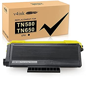 V4INK 1PK Compatible TN-580 TN-650 Toner Cartridge Replacement for Brother TN580 TN650 TN550 TN620 Toner High Yield for Brother HL-5250DN HL-5340D HL-5370DW MFC-8480DN MFC 8690DW 8860DN 8890DW Printer