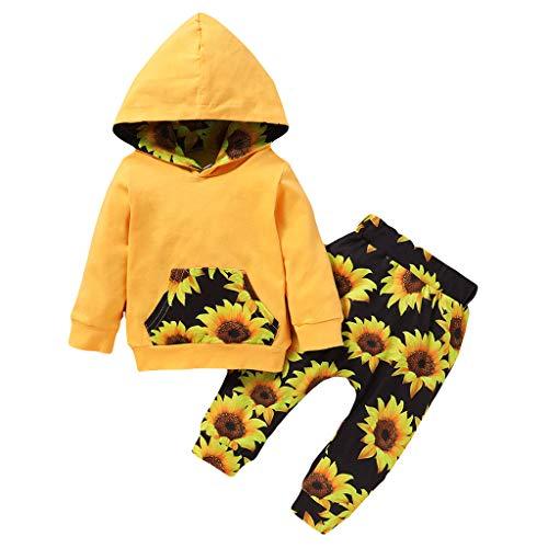 JERFER Säugling Baby Jungs Mädchen Zur Seite Fahren Kapuzenpullover Tops + Sonnenblume Drucken Hose Outfits Einstellen