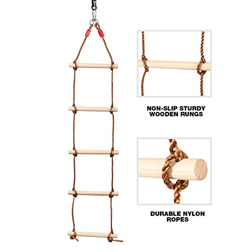 Domaker 5-Section Climbing Rope Ladder for Kids,Hanging Rope Ladder with Straps,for Playground Outdoor Tree House Swing Rope Ladder