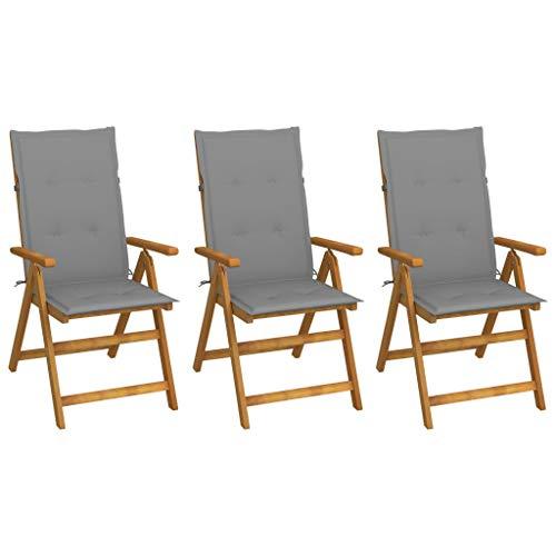 vidaXL 3X Akazienholz Massiv Gartenstuhl Klappbar mit Auflagen Hochlehner Holzstuhl Stühle Stuhl Gartensessel Klappstuhl Gartenstühle