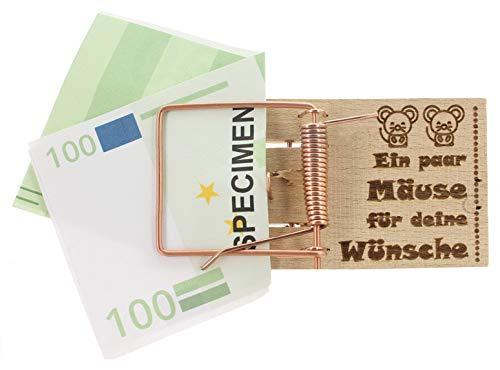 MIK Funshopping Geldgeschenk-Verpackung Mausefalle mit Spruch, witzige Geschenkidee zum Geburtstag, zur Hochzeit und zu Weihnachten (EIN Paar Mäuse für Deine Wünsche)