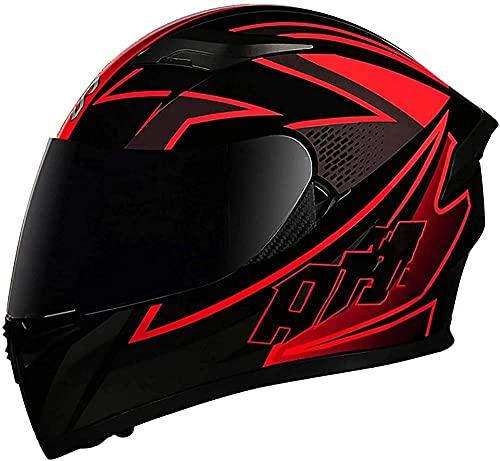 Cascos de motocicleta de cara completa abatibles cascos de moto modulares DOT/ECE aprobados doble visera de sol Offroad Cascos de motocross para mujeres hombres adultos scooter-5_XXXL=(64 ~ 65 cm)