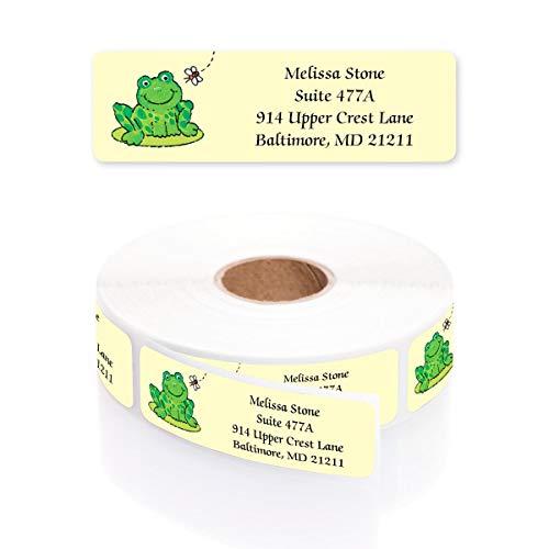 Frog on a Lily Pad Designer Rolled Address Labels with Elegant Plastic Dispenser