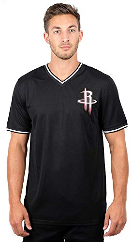 Ultra Game NBA Houston Rockets Mens Jersey V-Neck Mesh Short Sleeve Tee Shirt, Black, Large