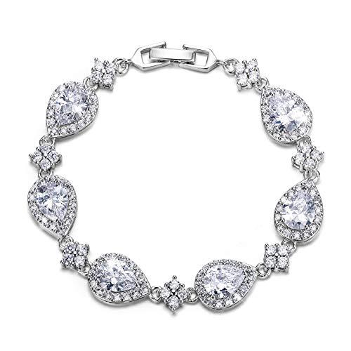 EVER FAITH Silver-Tone Full Zircon Wedding Tear Drop Link Bracelet Clear