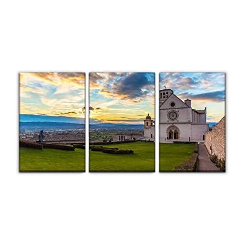 """Modern Canvas Painting assisi umbria italy rocky mount city stock pictures royalty free Wall Art Artwork Decor Printed Oil Painting Landscape Home Office Bedroom Framed Decor (16""""x24""""x3pcs)"""