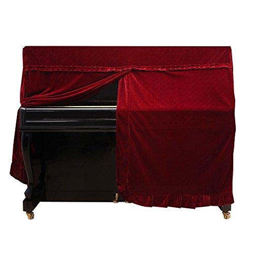 Copertura intera per pianoforte verticale, antipolvere, decorata, in tessuto felpato resistente al lavaggio, Rosso