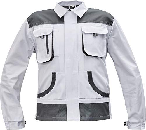 Stenso des-Emerton® - Herren Multifunktionale Arbeitsjacke Bundjacke - verstärkte Ellbogen - Weiß - 60
