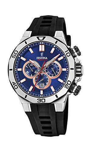 Festina Unisex Erwachsene Chronograph Quarz Uhr mit Silikon Armband F20449/1