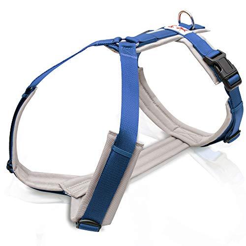 Brustgeschirr Grau / Blau Hundegeschirr, Unterpolstert, Verstellbar, Bewegungsfreundlich, Brustgeschirr für kleine, mittelgroße und große Hunde (S)