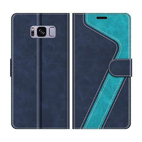 MOBESV Handyhülle für Samsung Galaxy S8 Hülle Leder, Samsung Galaxy S8 Klapphülle Handytasche Case für Samsung Galaxy S8 Handy Hüllen, Modisch Blau