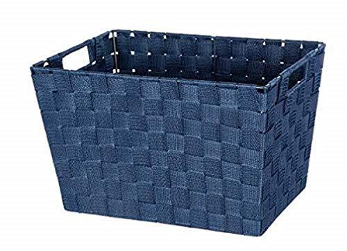 WENKO Cesto para baño Adria M azul oscuro - Cesta para el baño, Polipropileno, 35 x 22 x 22.5 cm, Azul oscuro