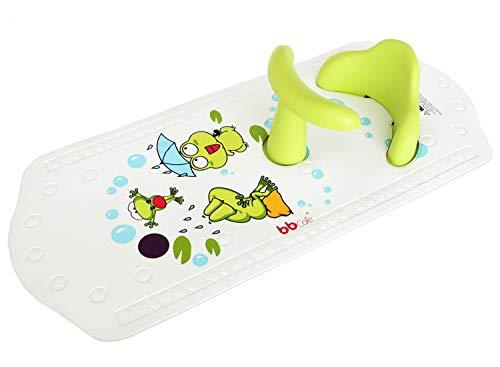 Asiento de seguridad para bañera BBCare, antideslizante, para bebé, extra largo con indicador de temperatura del agua Green Frog
