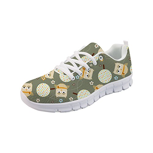 HUGS IDEA Cartoon-Eulen-Schuhe, leichte Laufschuhe für Frauen und Mädchen, - Cartoon Eule 1 - Größe: 38 EU