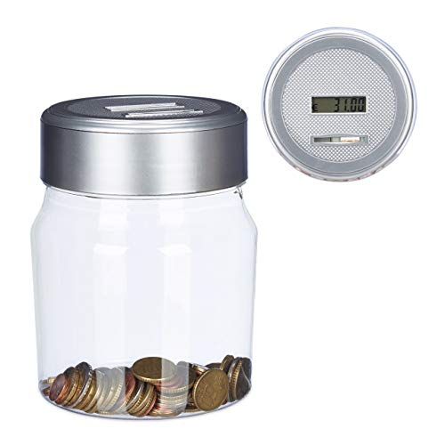 Relaxdays Money Box, Counting Piggy Bank with Display, Digital Coin Counter, Euro Gift, 1.2L, Transparent, 16 x 11 x 11 cm