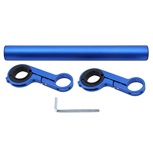 LoveAloe 1 Satz Fahrradgriff Extender Leichte Fahrradhalterung Aluminiumlegierung Ständer Multifunktions Bar Doppel Lenkerhalterung, Blau Doppelclip