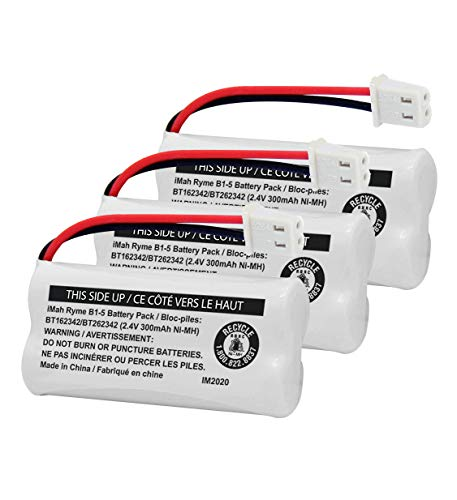 iMah BT162342/BT262342 2.4V 300mAh Ni-MH Cordless Phone Battery Pack, Also Compatible with BT183342/BT283342 AT&T EL52351 TL90070 VTech CS5119 DS6511 DS6722 LS6305 Handset, 3-Pack