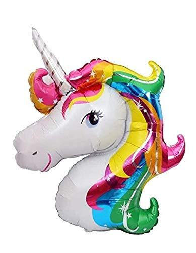 Palloncino Festa di Compleanno -Unicorno Arcobaleno - Con Cannuccia - Compatibile Aria/Elio - Dimensioni 45 x 45 cm
