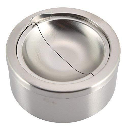 LGYKMU Die neuesten und modische Runde windundurchlässige Silberne Metallaschenbecher automatisch Extinguish Zigaretten
