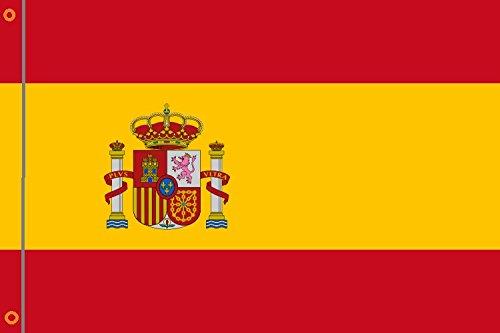 Durabol Bandera de España con Escudo Flag 90x150cm Satin 2 Anillas metálicas fijadas en el Dobladillo