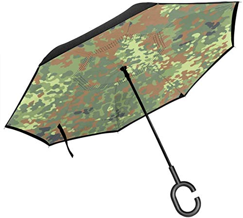 qinhanxinchengxianlibaihuodian Deutsch Bundeswehr Flecktarn Camo Regenschirm mit C-förmigen Griff, Anti-UV-wasserdicht Winddicht für Auto Regen im Freien