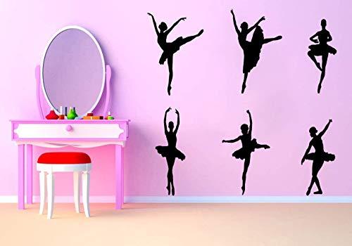Ballerina Wandtattoo   Wandtattoo für Mädchen Schlafzimmer   Schwarz Ballett Girl Wandsticker   Abnehmbar Schöne Ballett Ballerina Wandaufklebe für Tanzzimmer Frauen Schlafzimmer Vinyl Dekoration