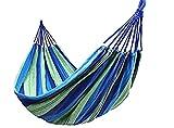 KIRALOVE Hamac 180 x 80 cm pour Camping - Jardin - Tissu - Coton brésilien - Taille 180 * 80 cm - Couleur Vert Multicolore - Accessoires Pique - Nique et Camping
