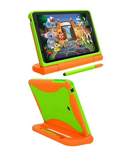 Verizon Rugged Case for Ellipsis 8 Tablet | Ellipsis Kids Tablet | Shockproof Light-Weight, Kickstand Handle - Orange/Neon Green