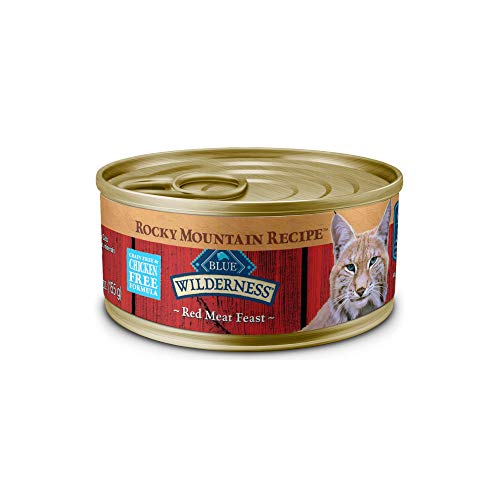 Blue Buffalo Wilderness Rocky Mountain Recipe High Protein Grain Free, Natural Adult Pate Wet Cat Food, Red Meat 5.5-oz cans (Pack of 24)
